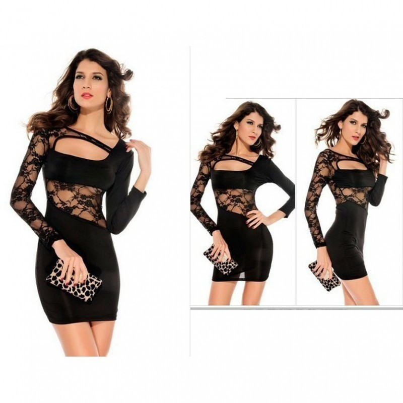 Sexy Black Mini Party wear dress with Hot Sleeves 3200 BBD-004