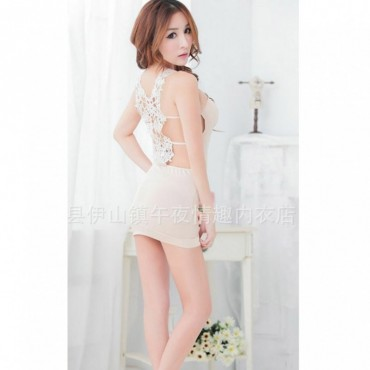 Back Embroidery Beige hot Dress  Sexy Night Club 2700 BBD-008