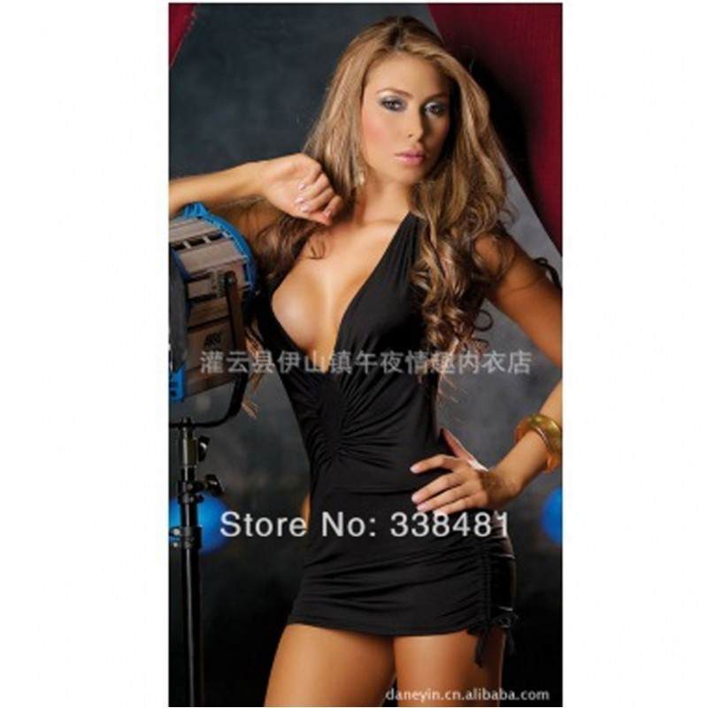 Hot Black party wear mini dress with boobs revealing2700 BBD-014