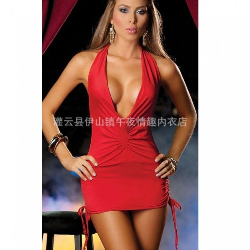 Hot red mini dress with boobs revealing full neck 2700 BBD-019